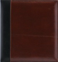 Pinnacle 60 Page Magnetic Faux Leather Ring Bound Photo Album 8x10, Brown and Black